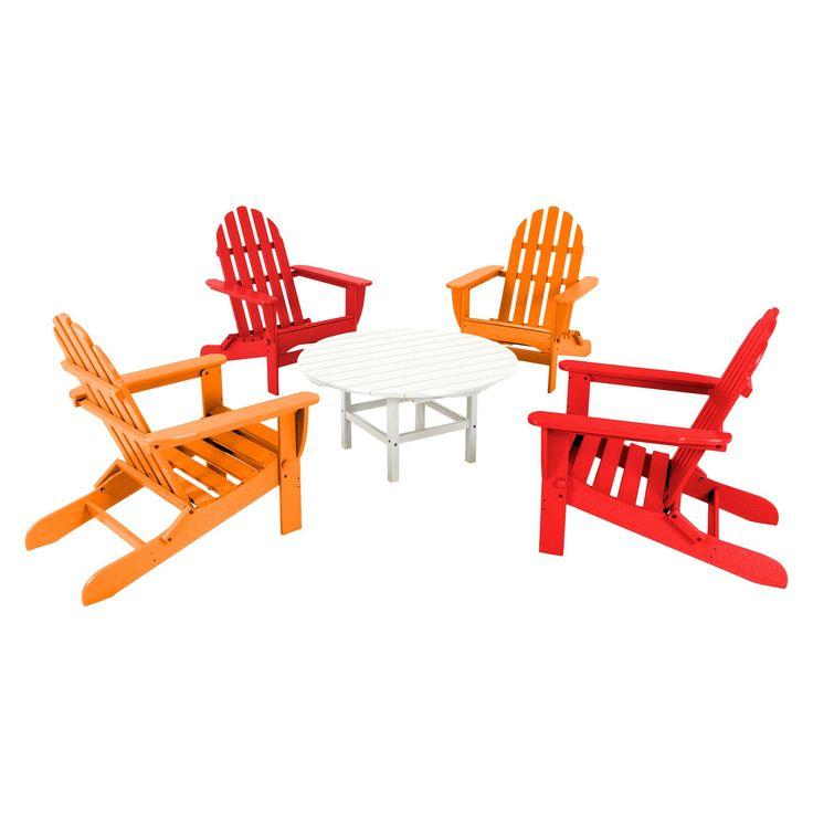Polywood 5-Piece Adirondack Conversation Furniture Set - Red, Red/Orange