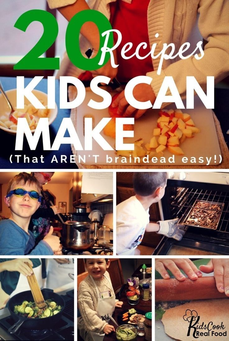 Kids don't need 'kid-food.' They can cook real food, and recipes for kids to cook hardly need to be different than what adults cook. Here are 20 of our family's favorites.