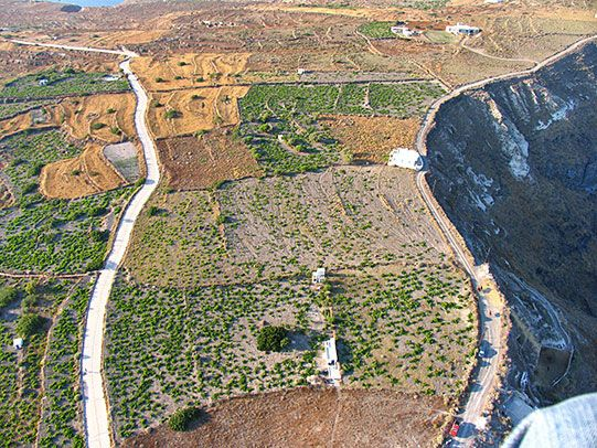 Thirassia wine yards from above, Santorini island, Greece. - selected by www.oiamansion.com