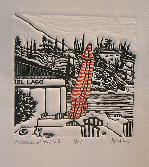 Prosecco at table three Linocut Di Oliver Edition of 25