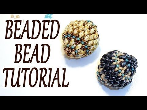 Beaded bead tutorial - How to make a beaded bead - Miniduo beaded bead tutorial ...