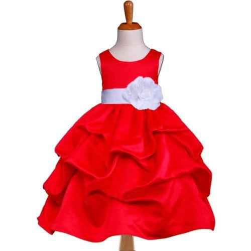 """Φορέματα για Παρανυφάκια - Επίσημα Φορέματα για Κορίτσια :: Παιδικό ΚΟΚΚΙΝΟ Φόρεμα, Πάρτι, Σατέν με Συνοδευτικό Ζώνη, Λουλούδι & Πισινό Φιόγκο, """"Pandora"""" - http://www.memoirs.gr/"""