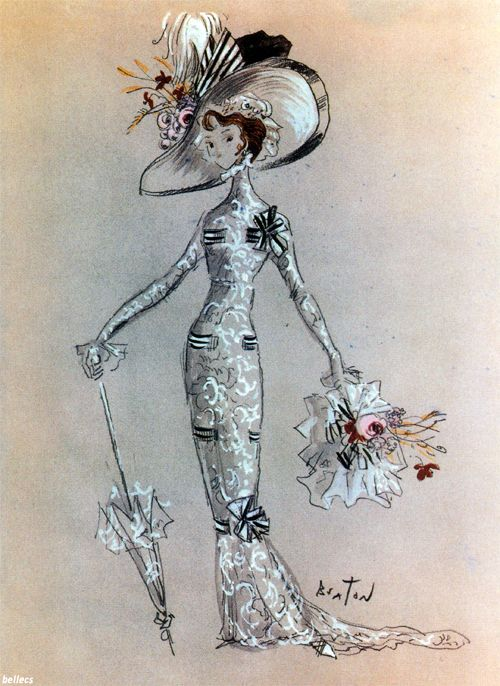 "Cecil Beaton's sketch for Audrey Hepburn's Ascot costume, ""My Fair Lady"" (1964)"