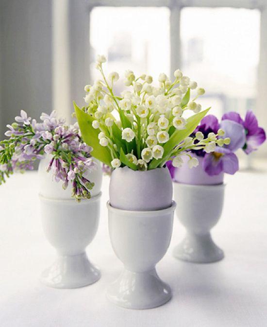 Flowers in eggshells! Happy Easter. #Purple #LilyoftheValley