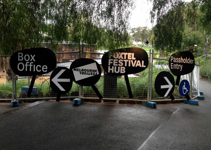 Foxtel Melbourne Festival Hub branding and signage by Studio Pip and Co.