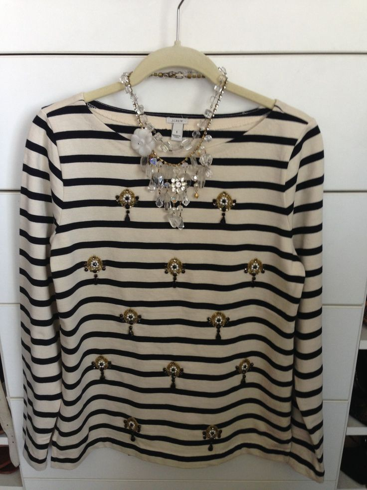 SoniaM Designs necklace, J Crew stripe jewelled jersey top