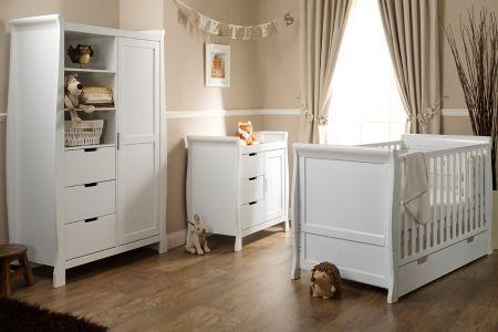 Obaby Lincoln Sleigh 3 Piece Nursery Furniture Set - White