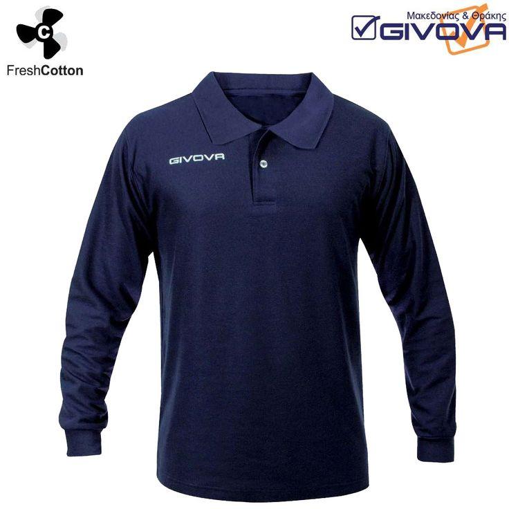 Polo Winter Μπλούζα πόλο μακρυμάνικη, 65% βαμβακερή και 35% από πολυεστέρα. Το λογότυπο στο στήθος είναι κεντημένο με την γνωστή ποιότητα της Givova.