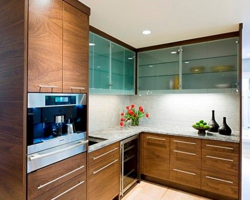 Modern Walnut Kitchen Cabinets With Elongated Cabinets Door Handle Nice Lowest Walnut Kitchen Cabinets Unite With Upper Glass Kitchen Cabine...