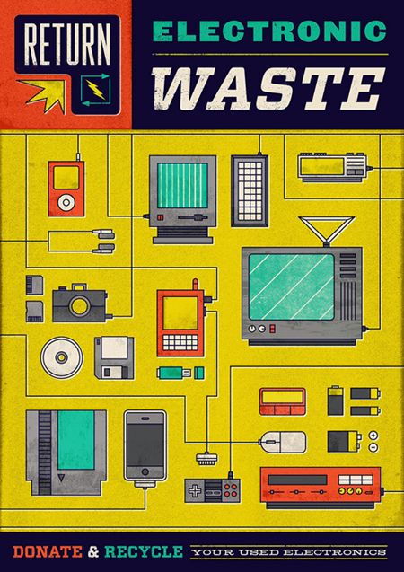 Electronics recycling poster by Dog & Dwarf.