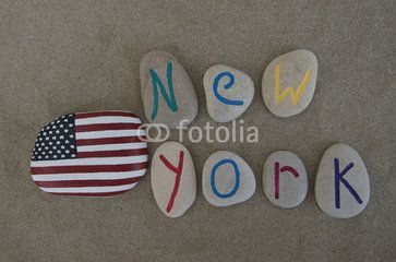 New York with United States of America's flag, stone carved letters