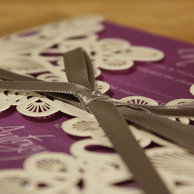 Graphic Design | Bespoke Wedding Stationery | Paper Cutting | Beautiful laser cut + embossed wedding invitation