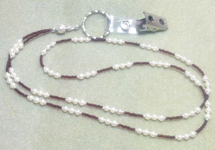 Vanilla Faux Pearl Garnet Lanyard/ID Badge Holder