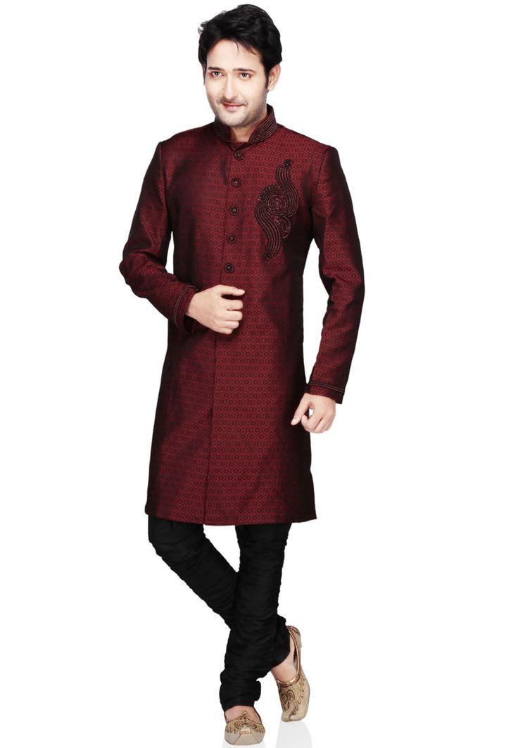 Buy Maroon Silk Jacquard Readymade Sherwani online, work: Embroidered, color: Maroon, usage: Party, category: Mens Wear, fabric: Silk, price: $161.60, item code: MJM246, gender: women, brand: Utsav