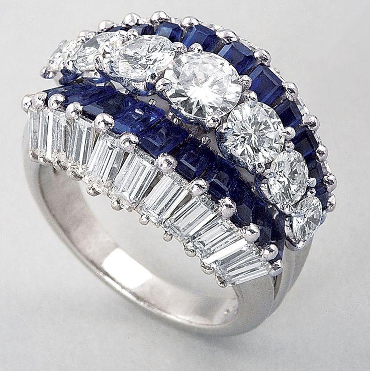 Platinum, Sapphire and Diamond Ring, Oscar Heyman & Bros.