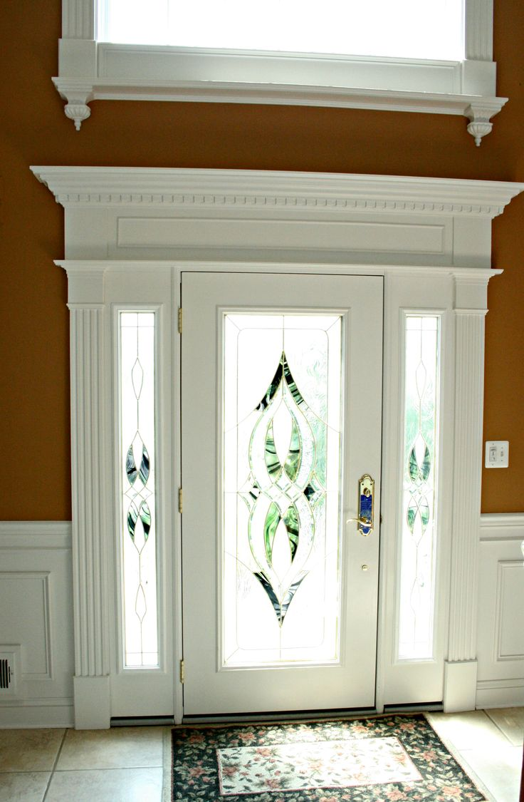 Entry Foyer Window : Revival door and window surround with dentil crown