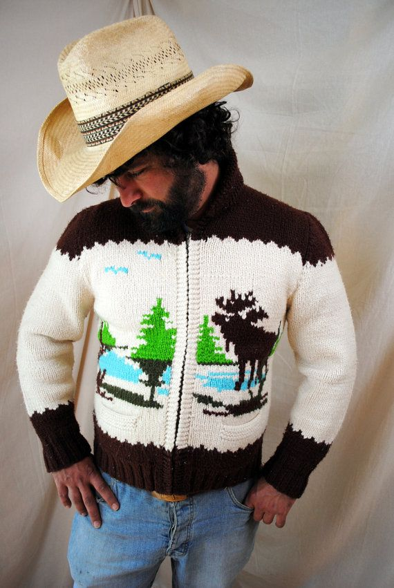 Vintage 1960s Cowichan Novelty Cardigan Wool Sweater by RogueRetro
