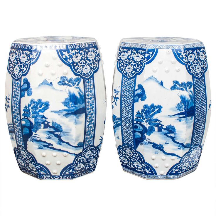 Pair Of Blue And White Porcelain Garden Seats | From A Unique Collection Of  Antique And