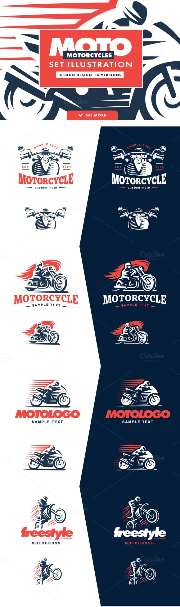 Motorcycle logo set. by SODESIGN on @creativemarket