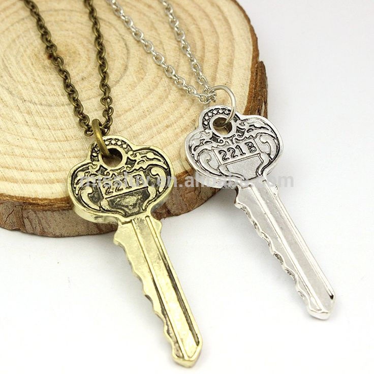 Movie Sherlock Holmes jewelry engraved key pendant 221b Key Pendant for necklace #221b, #key