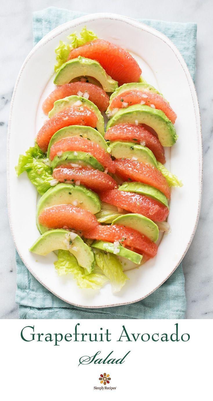 Grapefruit Avocado Salad ~ Grapefruit avocado salad. Peeled segments of grapefruit arranged with avocado slices, with a citrus vinaigrette. #paleo #vegan #glutenfree ~ SimplyRecipes.com
