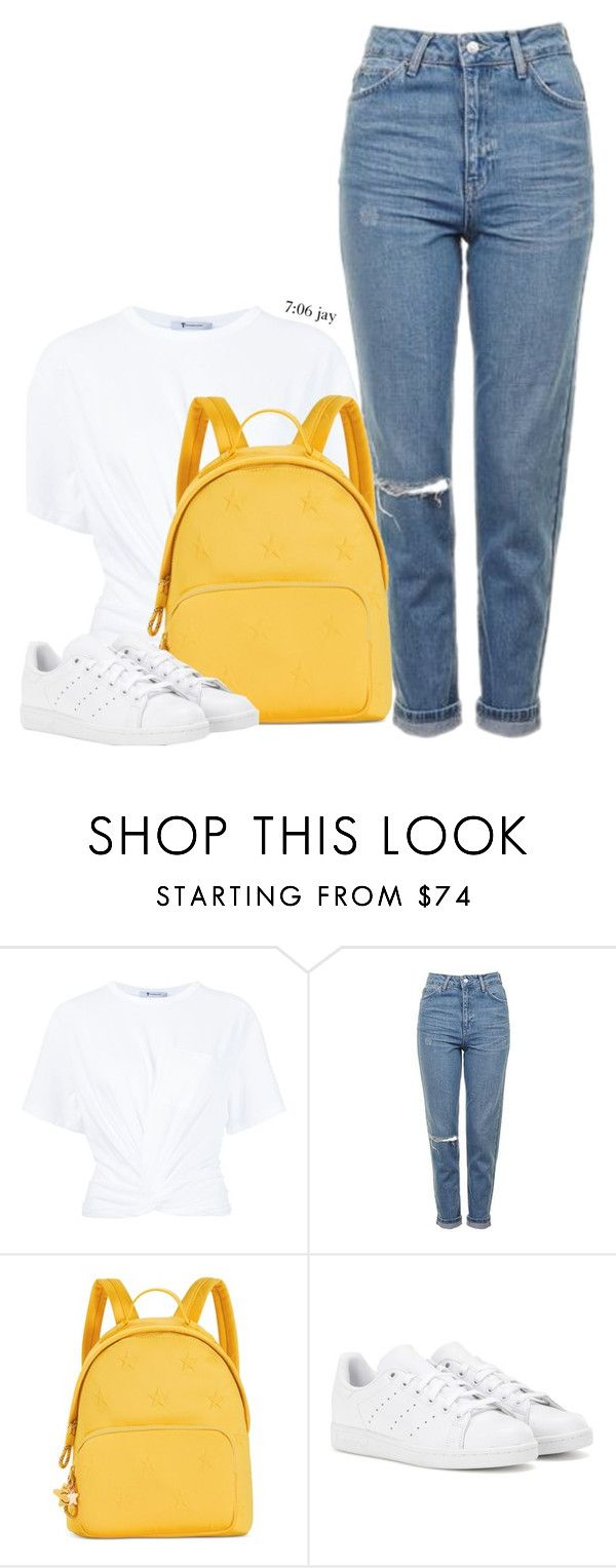 """Untitled #421"" by justice-ellis ❤ liked on Polyvore featuring T By Alexander Wang, Topshop, Tommy Hilfiger and adidas"