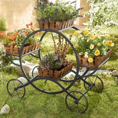 Carrinho como apoio para seus vasos de plantas - Dica de decoração para jardins ~ VillarteDesign Artesanato