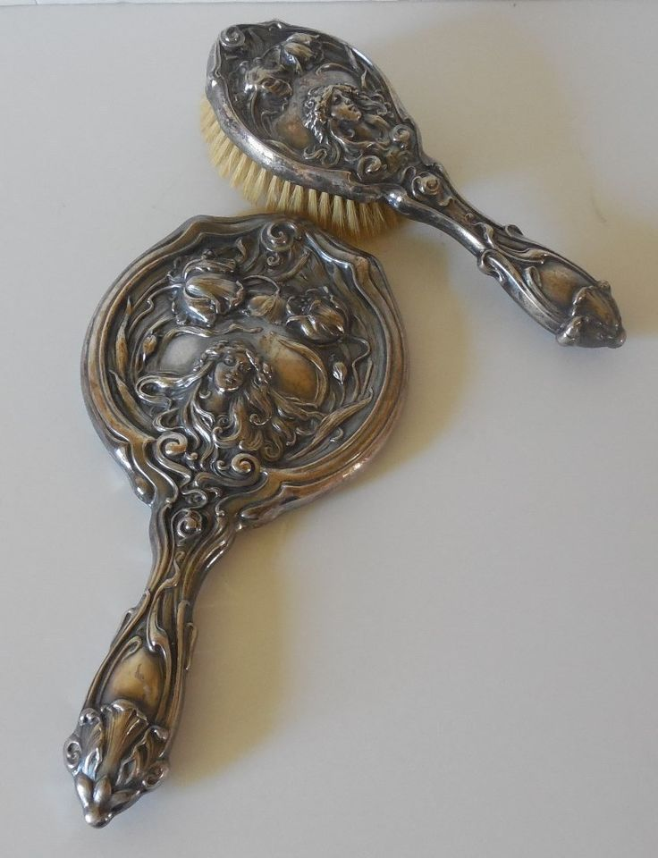 Beautiful Art Nouveau Silver Plate Vanity Mirror and Brush Set & 897 best ✤ MirrorBrush \u0026 Comb Sets ✤ images on Pinterest | Vanity ...