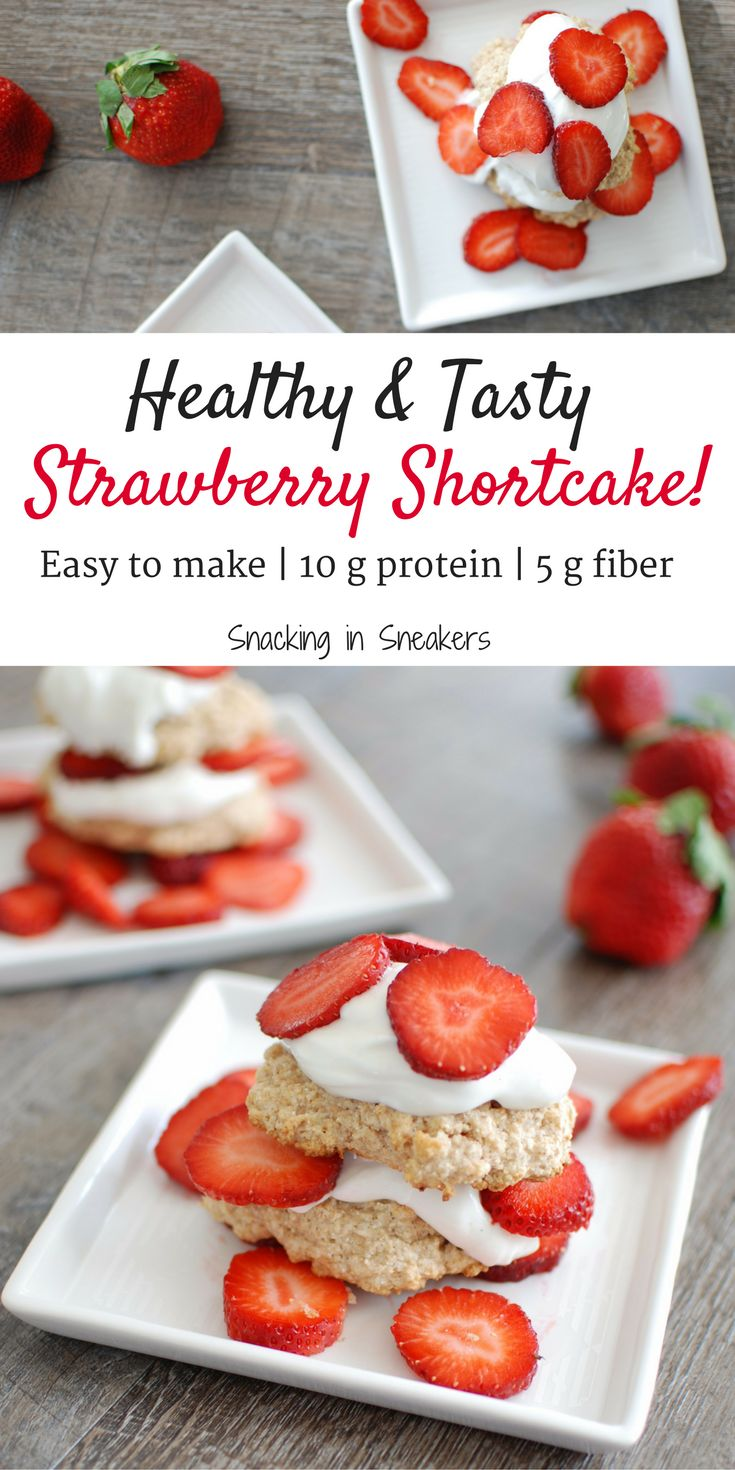 This healthy strawberry shortcake recipe is perfect for a summer dessert!  It works great for a cookout –make the biscuits ahead of time and guests can add the toppings.  Plus, this healthier version clocks in at just 225 calories, with 10 grams of protein and 5 grams of fiber each!   Healthy dessert   Strawberry recipes   Strawberry shortcake biscuits   Clean eating strawberry recipes