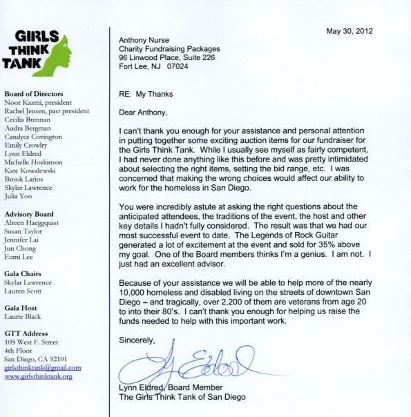 Silent Auction Ideas Help Girls Think Tank Testimonial Letter http://www.charityfundraisingpackages.com/fundraising-testimonials/