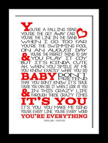 Michael Buble - Everything -Typography art print music song lyric print 12x18 | eBay