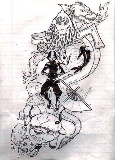 Avatar tattoo design. I'd never get this, but as a sleeve in color this would be legit.