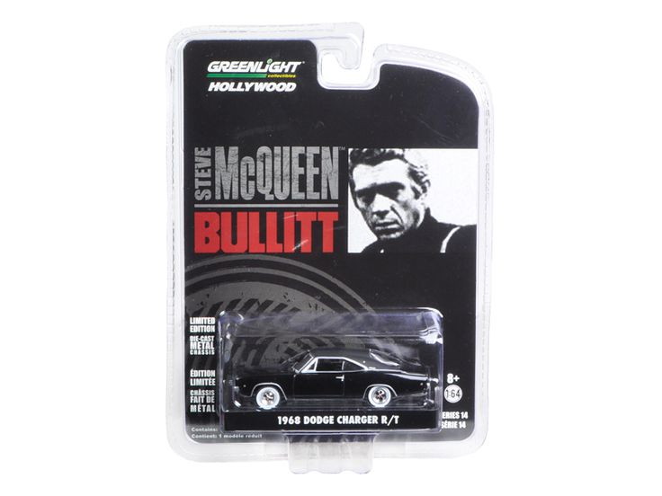 "1968 Dodge Charger R/T Bullitt ""Steve McQueen"" (1968 ) 1/64 Diecast Model Car by Greenlight - Brand new 1:64 scale car model of 1968 Dodge Charger R/T Bullitt ""Steve McQueen"" (1968 ) die cast model car by Greenlight. Limited Edition. Has Rubber Tires. Comes in a blister pack. Detailed Interior, Exterior. Metal Body and Chassis. Officially Licensed Product. Dimensions Approximately L-2 1/2 Inches Long.-Weight: 1. Height: 5. Width: 9. Box Weight: 1. Box Width: 9. Box Height: 5. Box Depth: 5"