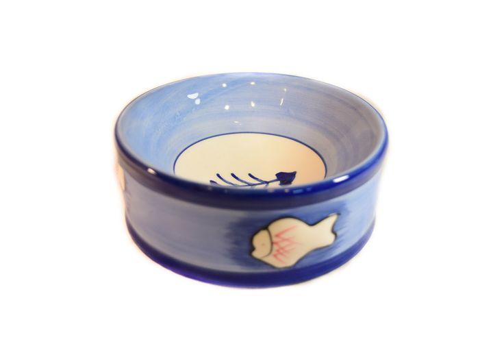 Petmax Миска для кошек рис. Рыбка 200мл голубая керамика
