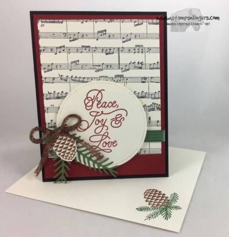 Stamps-N-Lingers.  Christmas in June with the new Sheet Music Background stamp, a sentiment from Peace This Christmas and some wonderful Pretty Pines Thinlits!  For free instructions on how to make this card, please visit my blog at: https://stampsnlingers.com/2017/06/08/stampin-up-peace-this-christmas-sheet-music-for-the-happy-inkin-thursday-blog-hop/
