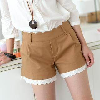 Scallop Trim Eyelet Lace Hem Shorts from #YesStyle <3 59 Seconds YesStyle.com