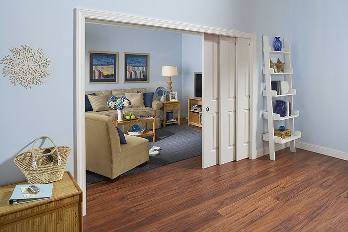 Cool Home producst Johnson Hardware's new 1562 Series Commercial Grade Bypass Pocket Door Frame offers twice as much width as the company's standard pocket doors, creating a wider room divider using just a single wall recess. #REMODELING #HomeDesign #PocketDoor