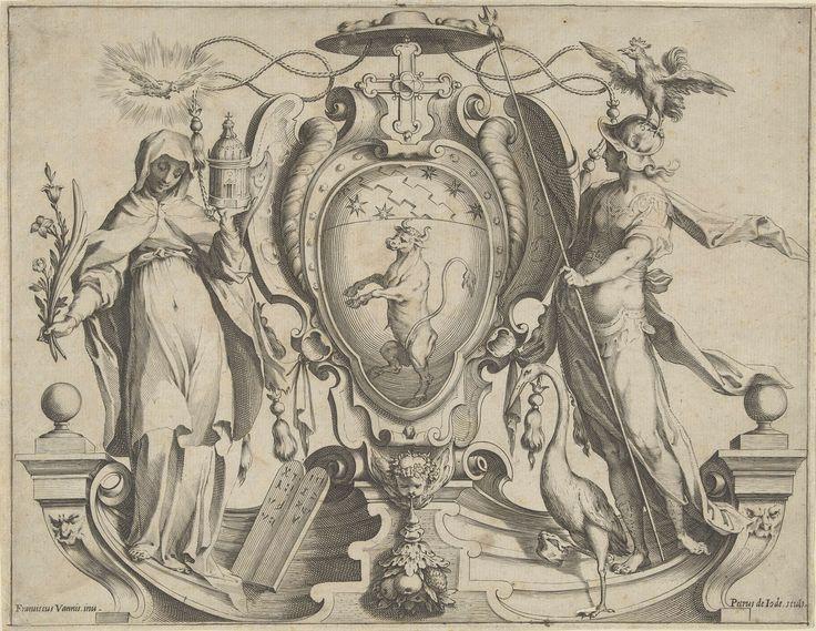 Pieter de Jode (I) | Wapenschild met stier en vrouwelijke personificaties, Pieter de Jode (I), 1590 - 1632 | Wapenschild met steigerende stier. Bekroond met een Grieks kruis. Geflankeerd door vrouwelijke personificaties met attributen: Links een vrouwelijke personificatie met bloemen en een kerkgebouw in de handen. Boven haar een duif in een stralenkrans. Rechts een vrouwelijke personificatie met haan op haar hoofd en een reiger aan haar voeten.