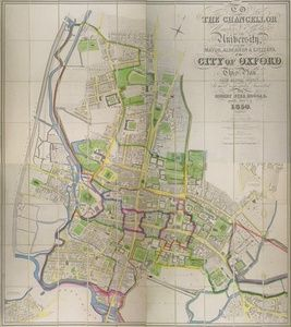 To the Chancellor, Master and Scholars of the University and teh mayor, Aldermen, & citizens of the City of Oxford, This Plan from Actual Survey is most respectfully inscribed by Robert Syer Hoggar, Assoc. Inst. C.E. 1850   Sanders of Oxford
