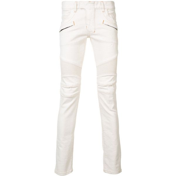 Balmain skinny biker jeans (1,840 CAD) ❤ liked on Polyvore featuring men's fashion, men's clothing, men's jeans, white, mens white jeans, mens biker jeans, mens super skinny jeans, mens skinny jeans and mens white skinny jeans