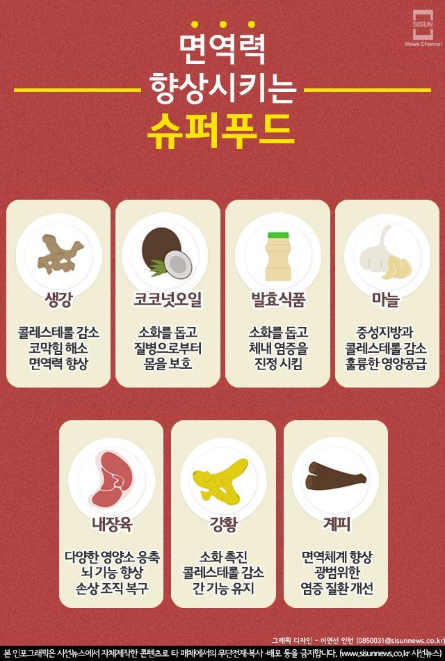 면역력 향상 시키는 '슈퍼푸드 7' [인포그래픽] - 시선뉴스