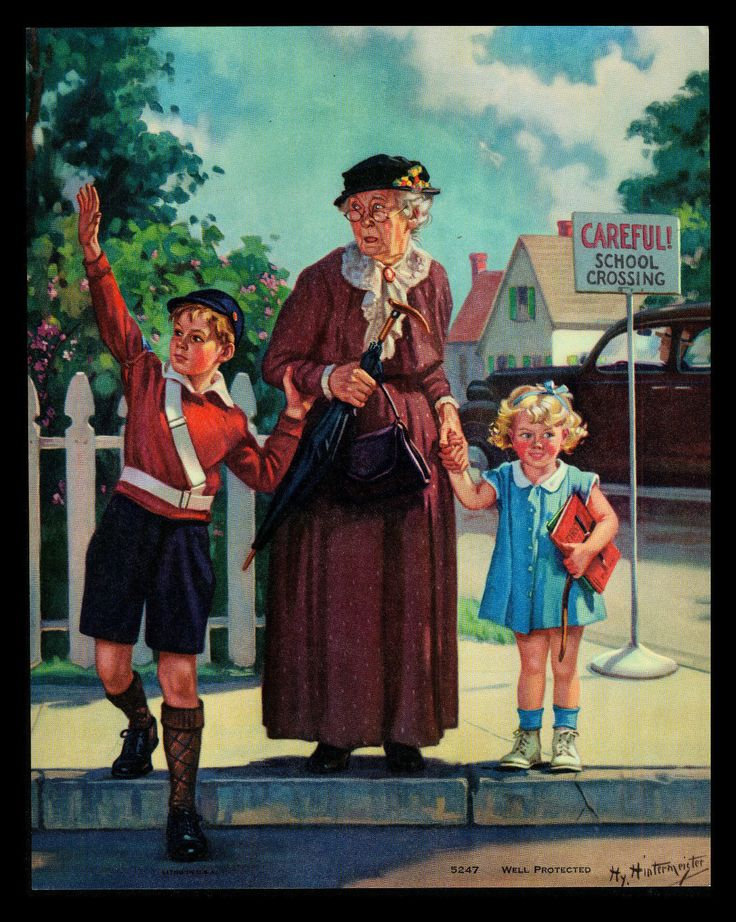 """Well Protected"" Grandma Boy Girl Calendar Art Print by HY Hintermeister | eBay HENRY HINTERMEISTER"