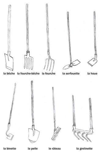dessin outils de jardinage