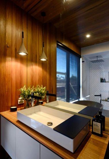The Block 2014 | Kyal and Kara - Bathroom - timber and white vanity, basin
