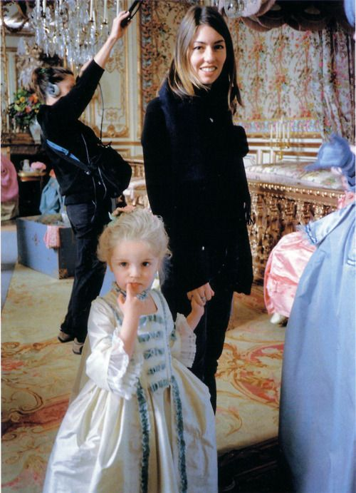 Sofia Coppola and her daughter Romy at the set of Marie Antoinette