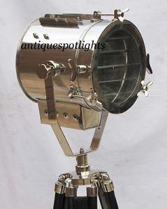 Nautical Searchlight Spotlight Focus Lamp Tripod Floor Lamp - Home Decorative Size- 33.5cm wide X 185 cm height Light Dia-23.5cm Front to Back- 24cm