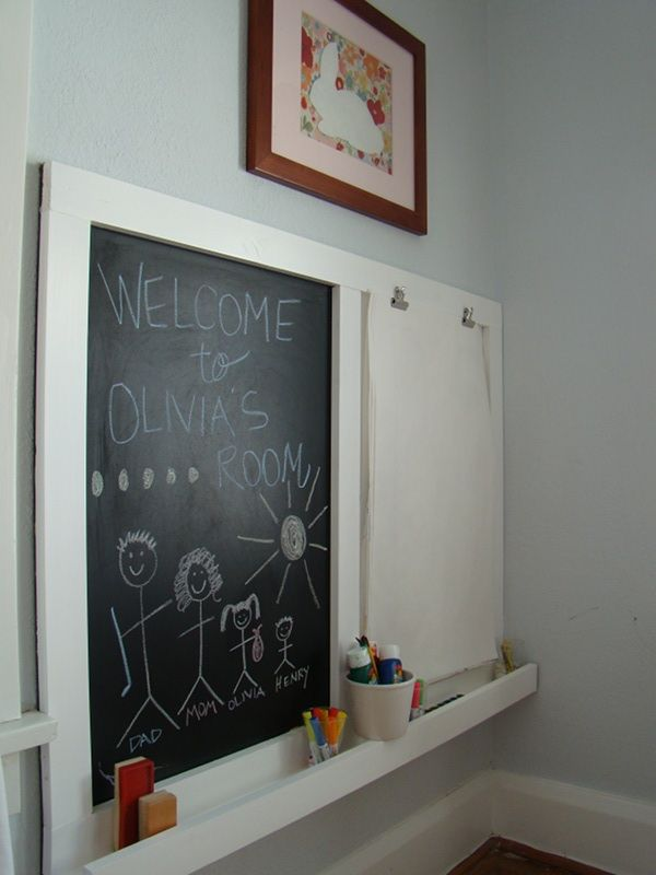 easel close Kid spaces: A creative but clean artists retreat This is just 1x2's with a chalkboard backmount. We could make the top 1x4 and add paper rolls to it.
