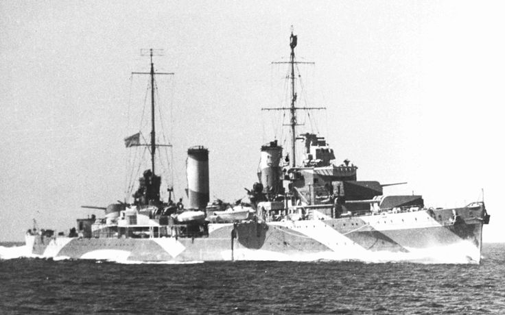 HMAS Perth (I) wearing her distinctive disruptive camouflage paint scheme.