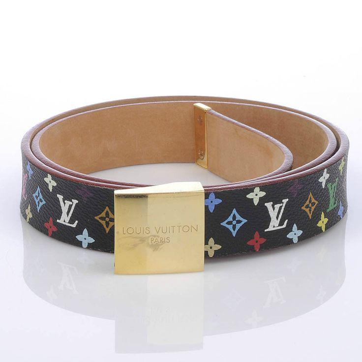 Authentic Louis Vuitton Black Multicolore Square Buckle Belt #LouisVuitton