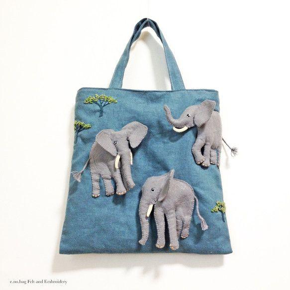 受注制作の作品です。完成まで2〜3週間のお時間を頂きます。zou no bag ( ゾウ ノ バッグ ) Elephant felt applique and...|ハンドメイド、手作り、手仕事品の通販・販売・購入ならCreema。